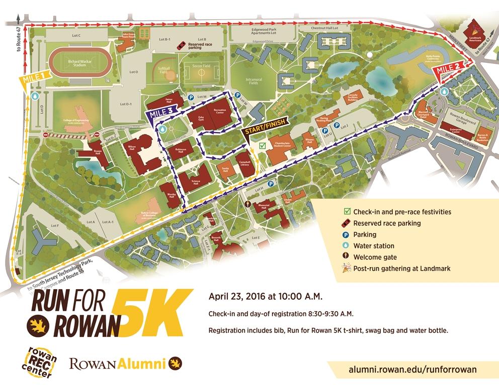 map of rowan university campus Rowan University Run For Rowan 5k map of rowan university campus